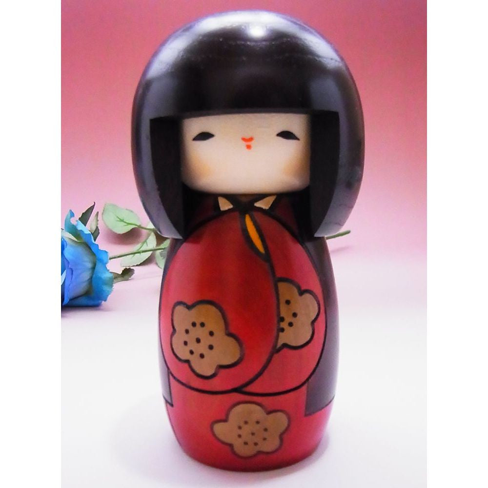 Modern Wooden Kokeshi Doll in Red