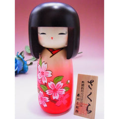 Modern Wooden Kokeshi Doll in Rose