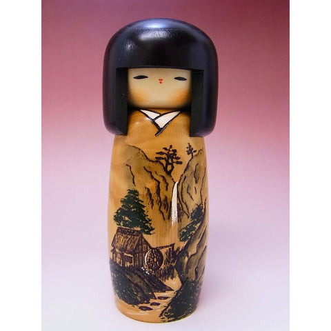 Modern Wooden Kokeshi Doll in Landscape Painting