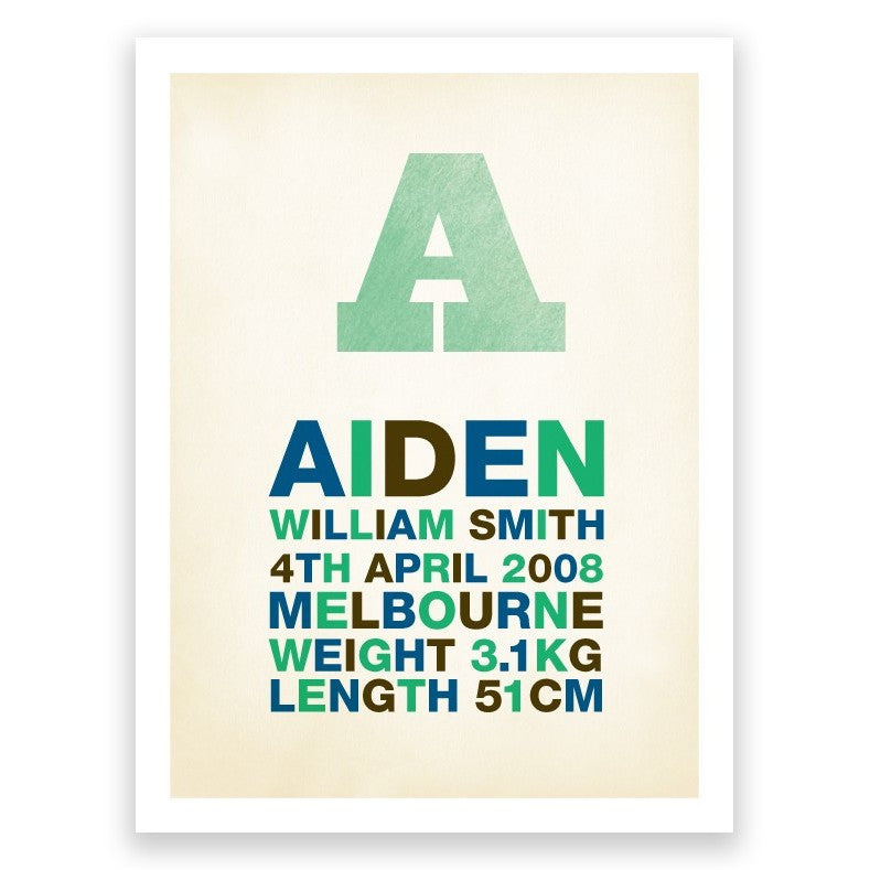 Letter Blue Green Birth Print Poster