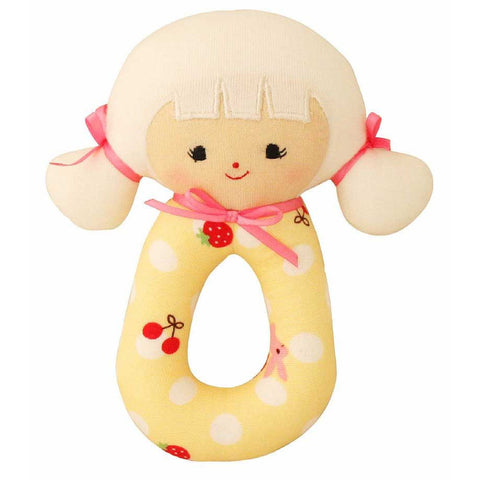 Audrey Grab Rattle (Yellow Polka)