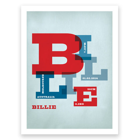 Name Red Blue Birth Print Poster