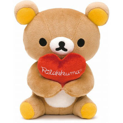 Rilakkuma Plush Cuddly Brown Bear with Heart