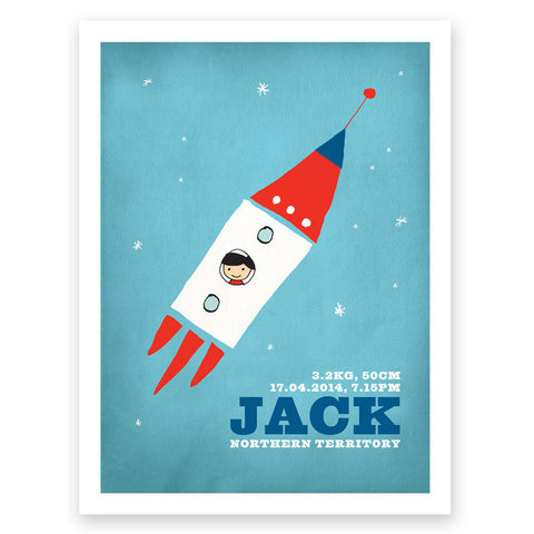 Rocket Red Blue Birth Print Poster