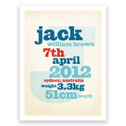 Stack Blue Birth Print Poster
