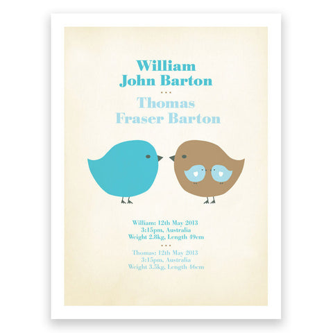 Twins Birth Print Blue Brown Poster