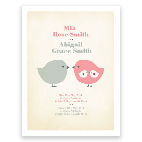 Twins Birth Print Pink Grey Poster