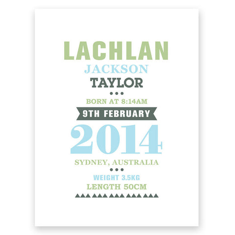 Typeset Blue Green Birth Print Poster