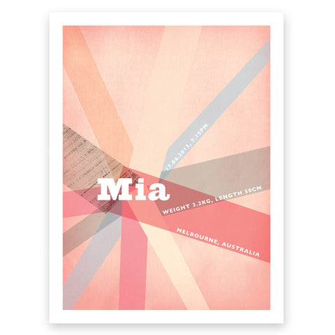Yay Pink Grey Birth Print Poster