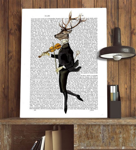 Dancing Deer w/ Violin Book Print