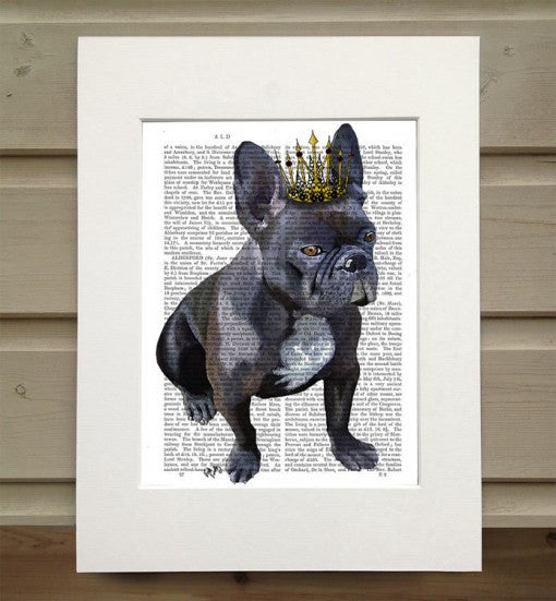 French Bulldog King Book Print