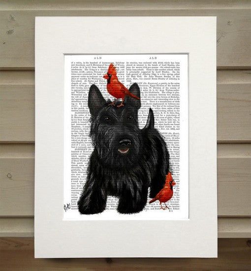Scottish Terrier & Birds Book Print