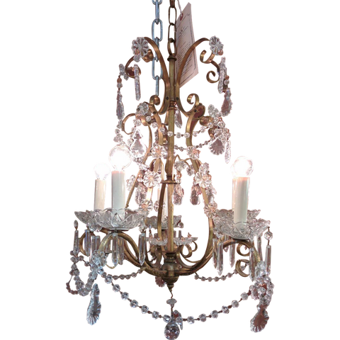 French Pear Fruit Shaped and Beaded Chandelier