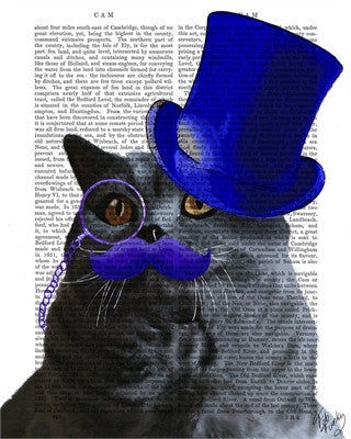 Grey Cat with Blue Top Hat  & Mustache Book Print