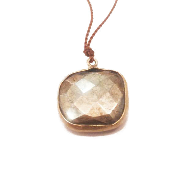 Pyrite and Brass Pendant Necklace