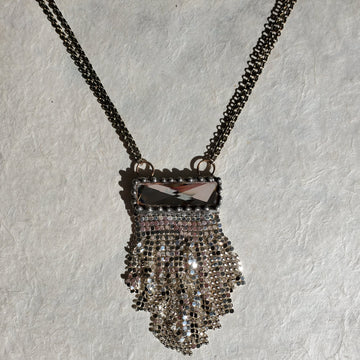 Crystal & Silver Mesh Necklace
