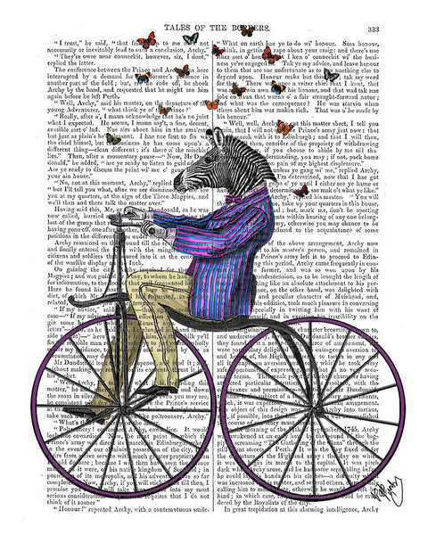 Zebra on Bicycle Book Print