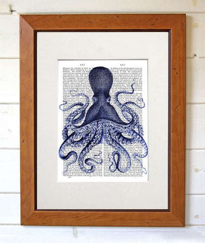 Blue Octopus Book Print