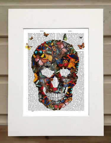 Butterfly Skull Book Print