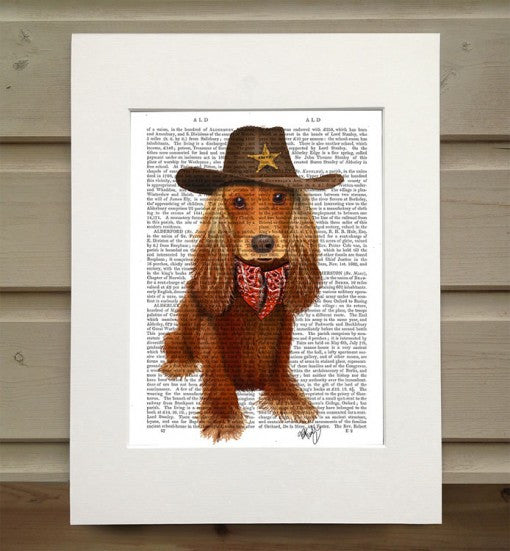 Cocker Spaniel Cowboy Book Print