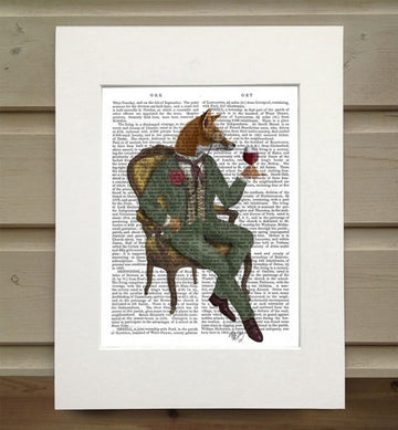 Wine Taster Fox Book Print