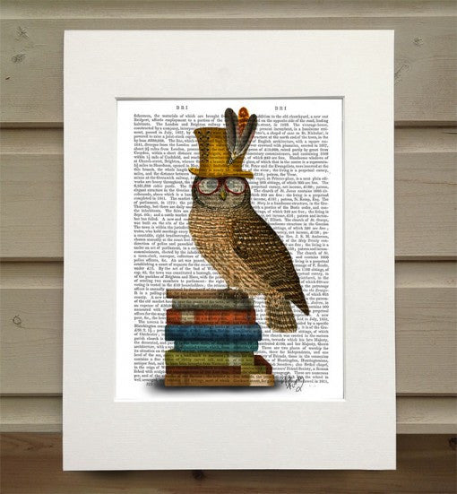 Owl on Books Book Print