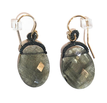 Woven Grey Cord Bale With Oval Labradorite Drop Earrings