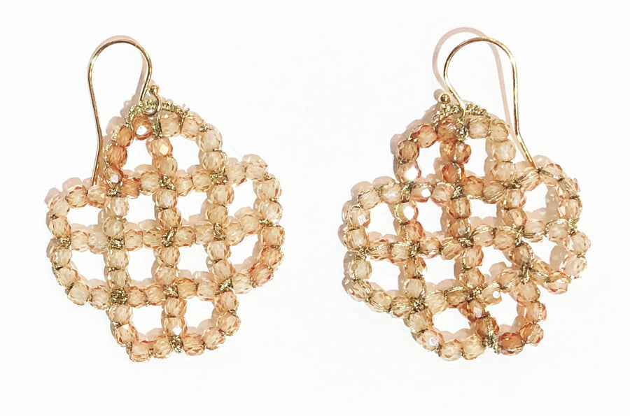 Woven Gold Cord Lace Cover With Peach Zircon
