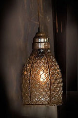 Chicken Wire & Glass Pendant Light
