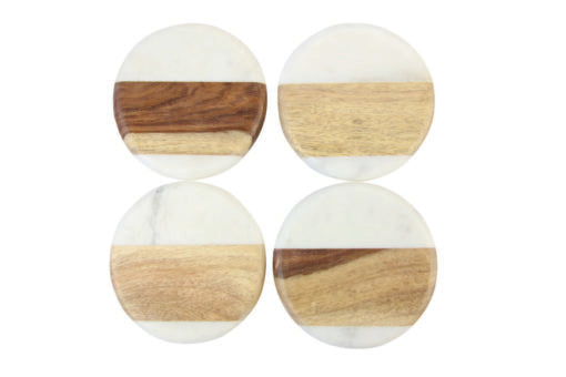 Marble & Wood Coasters - Round