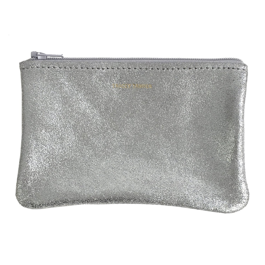 Small Flat Zip Pouch - Sparkle Gray with Pink