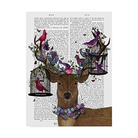 Deer Birdkeeper with Tropical Bird Cages Book Print