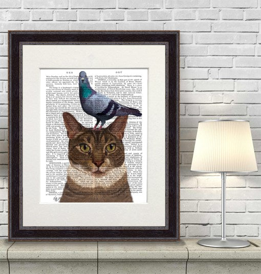 Cat with Pigeon on Head Book Print