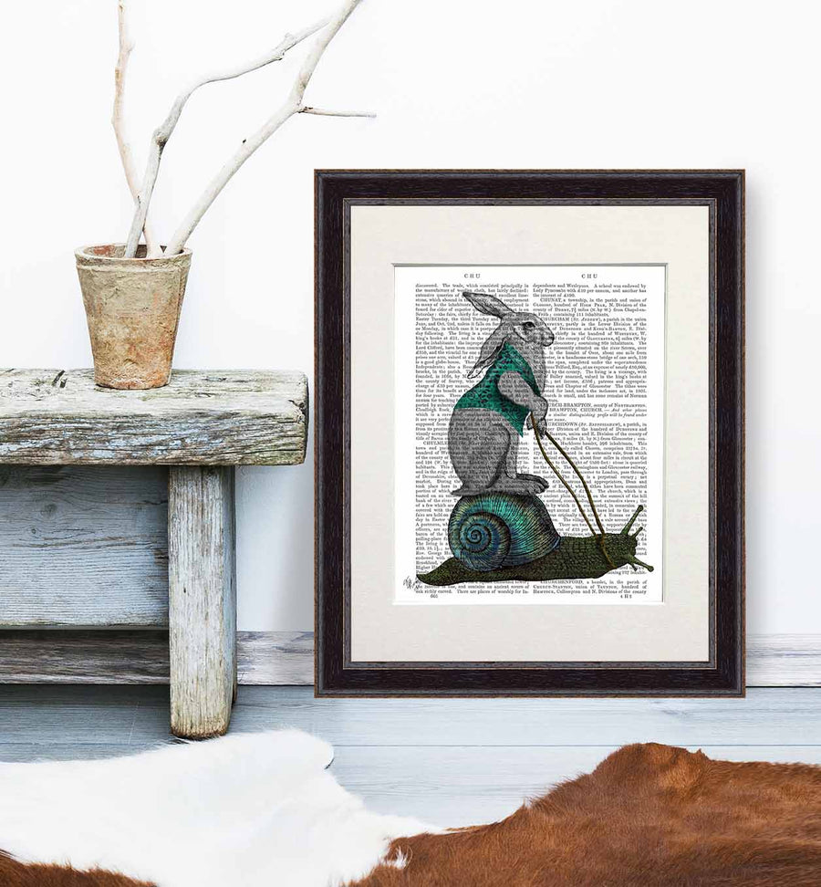 Hare and Snail Book Print