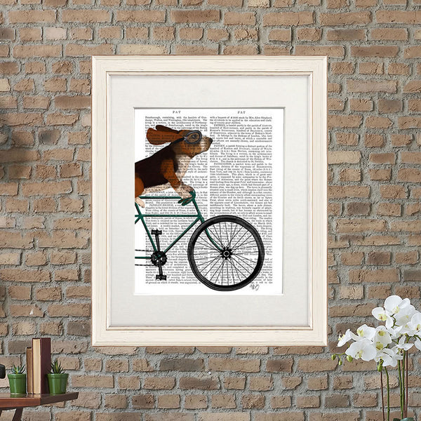 Basset Hound on Bike Book Print
