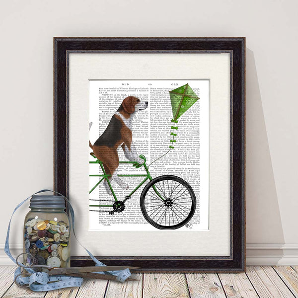 Beagle on Bike Book Print