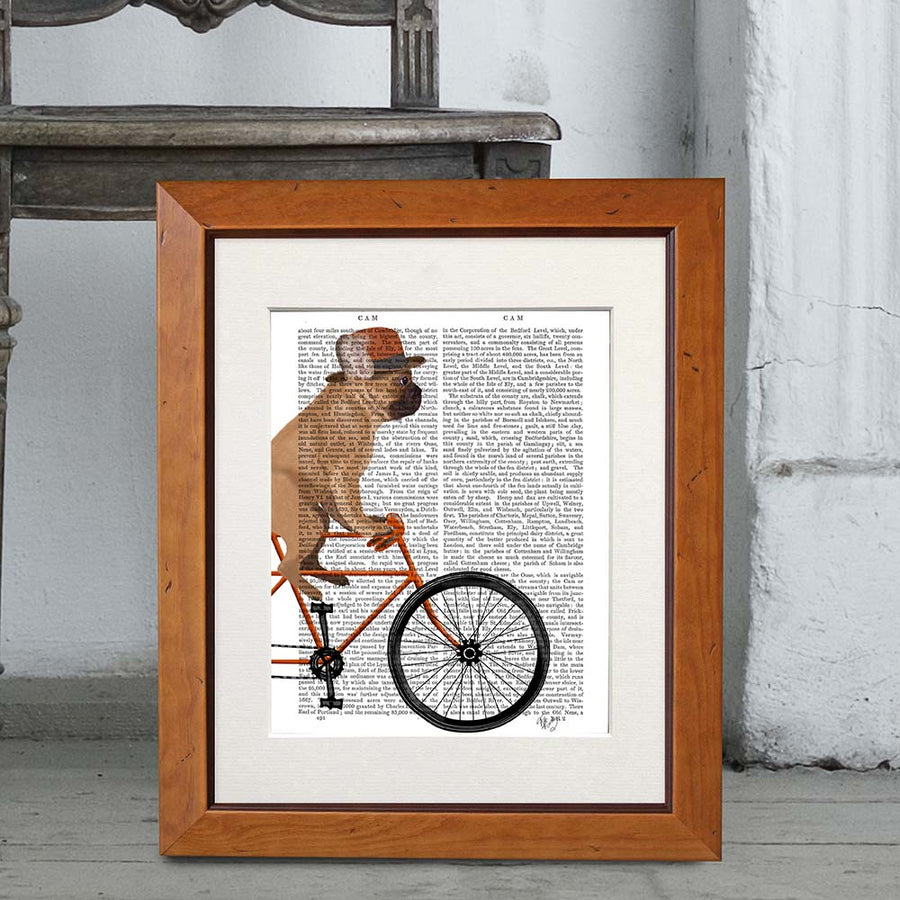 French Bulldog on Bike Book Print