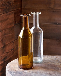 Tall Hand Blown Glass Bottle 14.5""