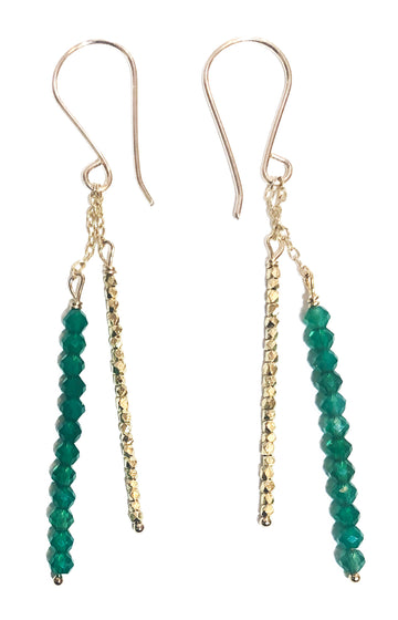 Green Onyx & Gold Vermeil Sticks on Chain Earrings