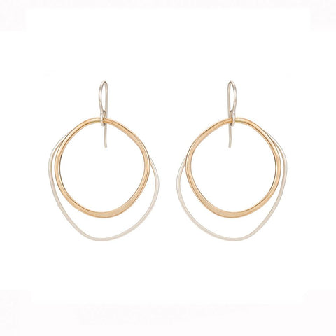 Large Double Rounded Square Earrings