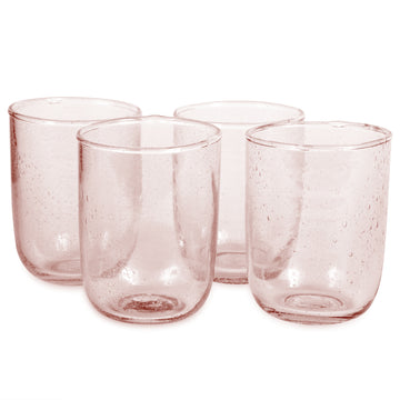 Short Seeded Glasses - Pale Rose