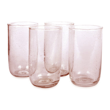 Tall Seeded Glasses - Pale Rose