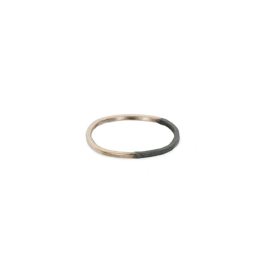 Thin Black & Rose Gold Round Ring