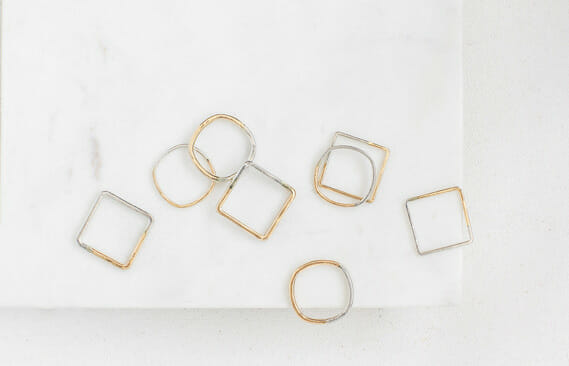Thin Silver & Gold Square Ring