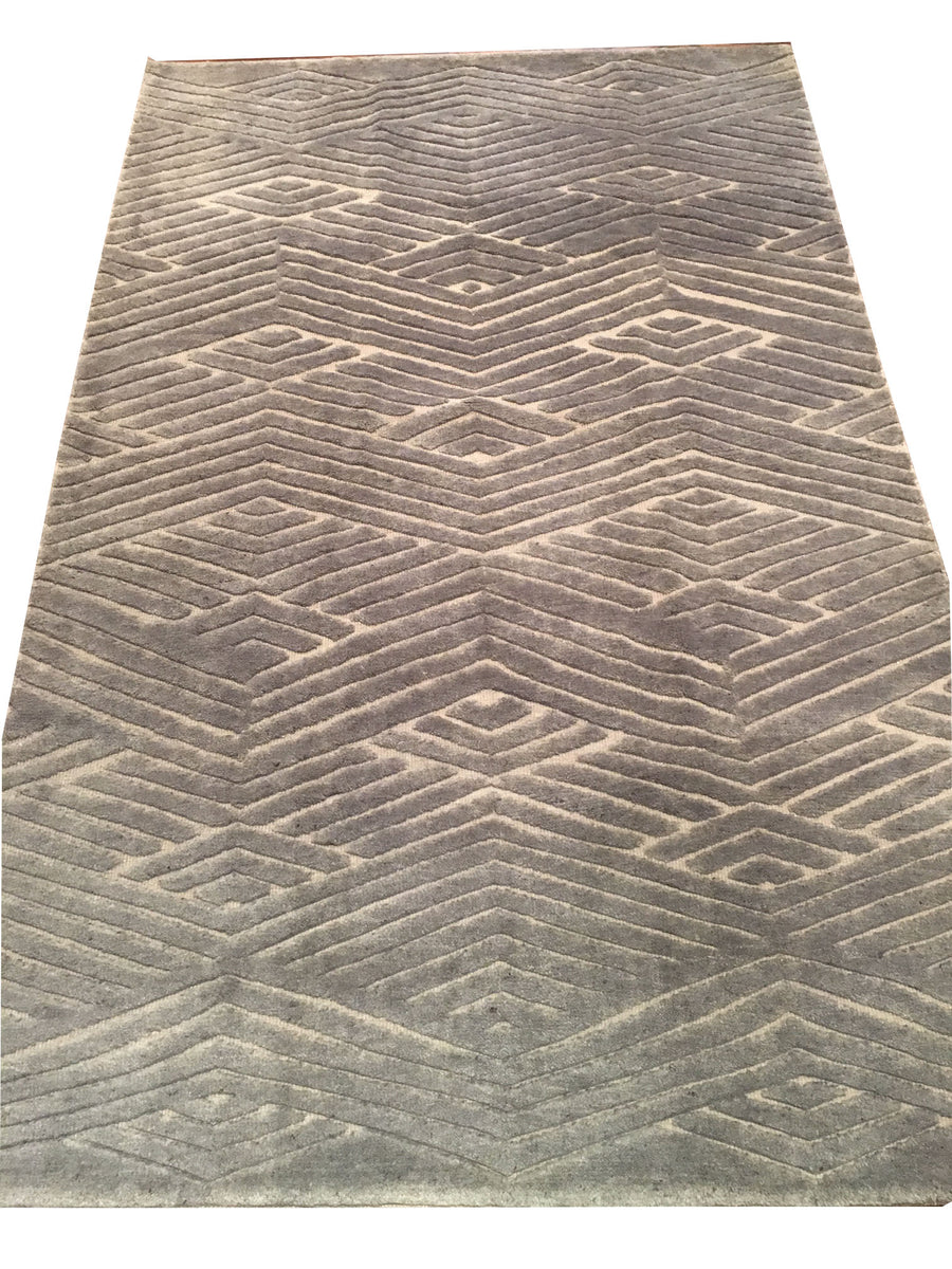 Handmade Contemporary Rug 5'x8'