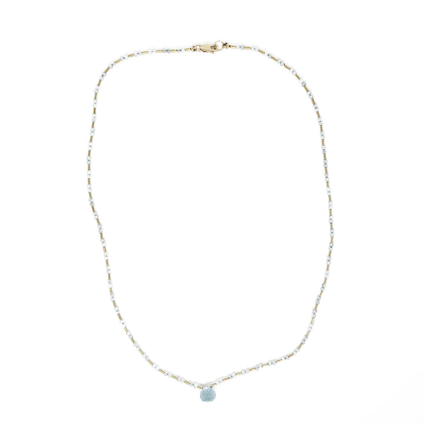 Clear Seed Beads and Agate with Blue Topaz Drop Necklace
