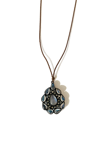 Moon Stone Diamond Sliver Necklace