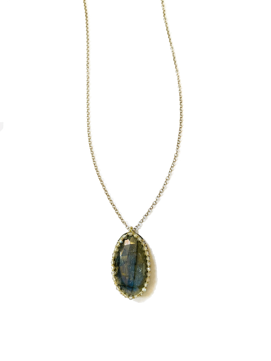 Caged Labradorite with Gold Cord and Pave Labradorite