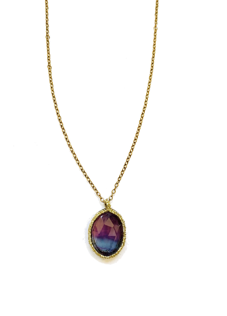Woven Gold-Caged Fluorite on 14kt chain