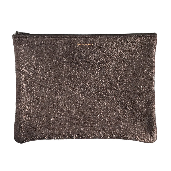 Large Flat Zip Pouch - Gravel Crinkle